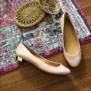 J crew factory blush pink and gold heel flat